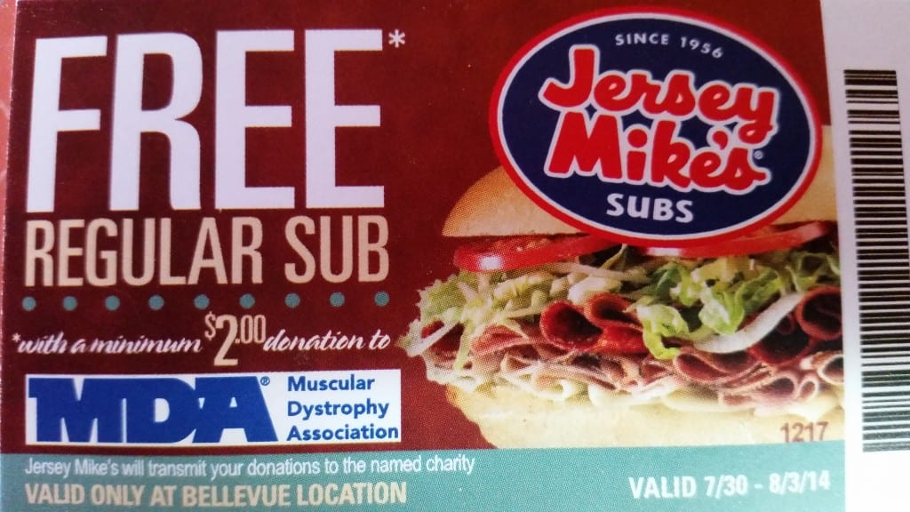 image regarding Jersey Mikes Printable Coupons named Bellevue Cafe Opening Giveaway - Jersey Mikes Subs