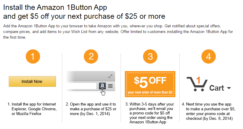 Amazon 5 Free With 25 Purchase With Amazon 1button App