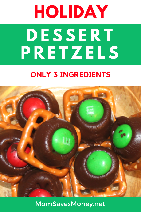 Dessert pretzels on plate with red and green m&ms in center