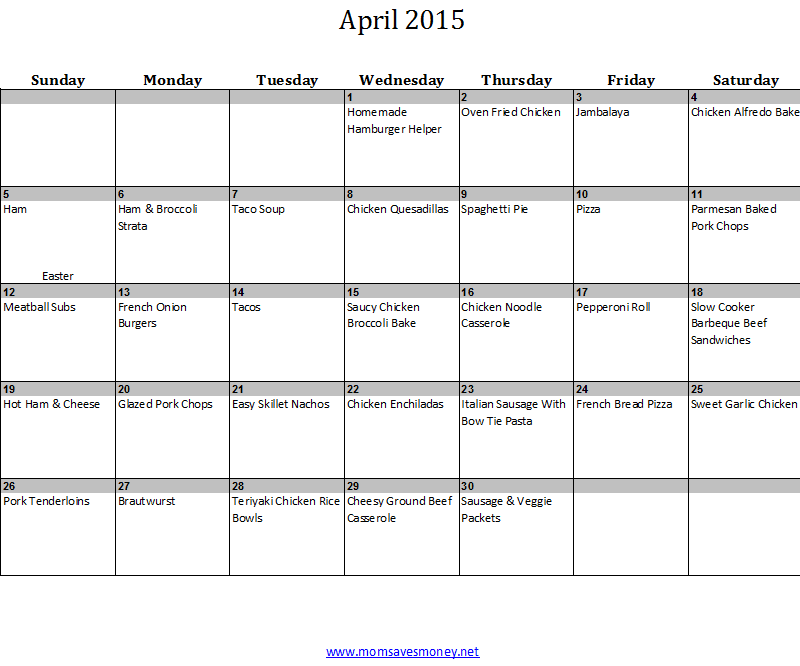 April Monthly Meal Plan with Calendar & Family-Friendly Recipes ...