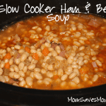 ham and bean soup with navy beans, carrots, celery, onion and spicesin the slow cooker