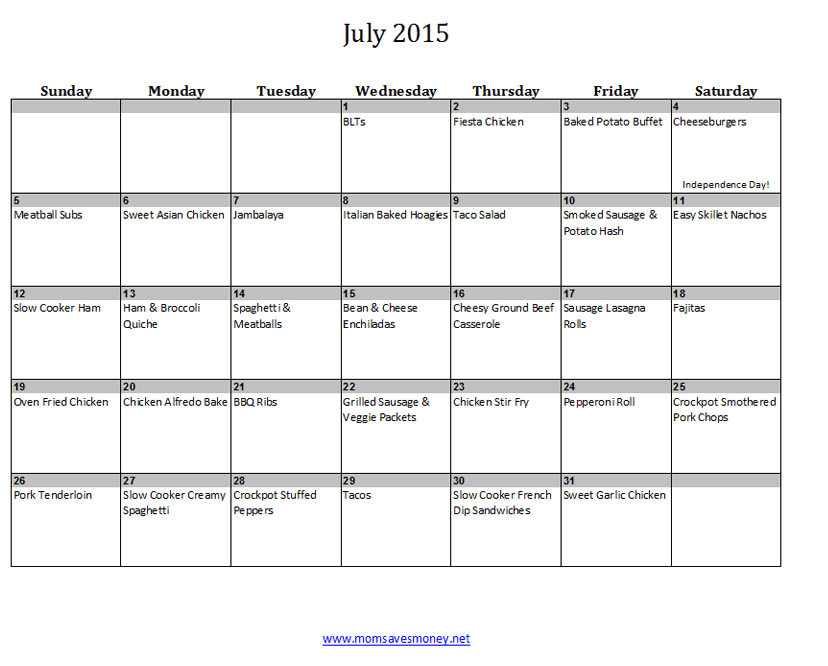 July Monthly Meal Plan with Calendar Easy Recipes Mom Saves Money – Meal Calendar