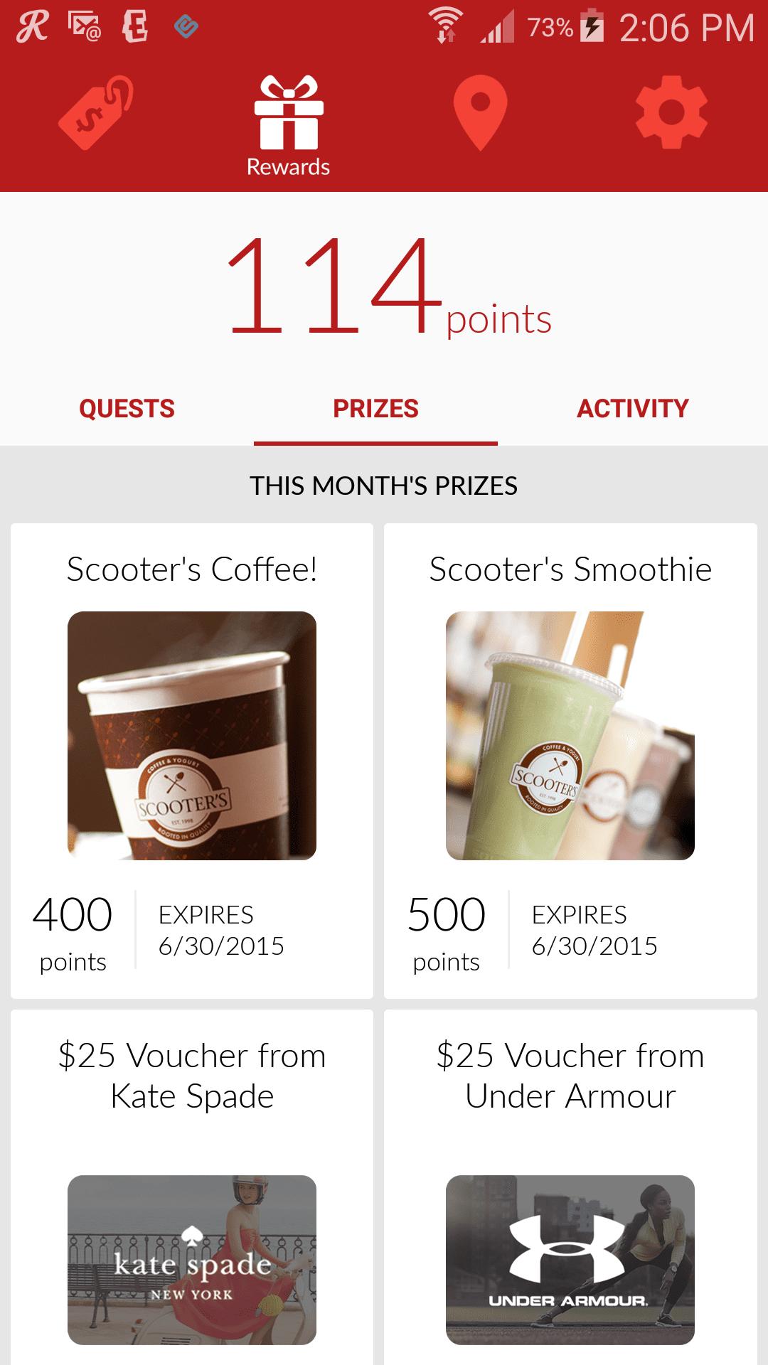 NEX app rewards