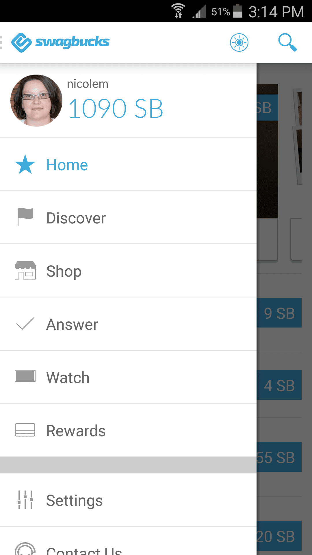 One of the Swagbucks apps