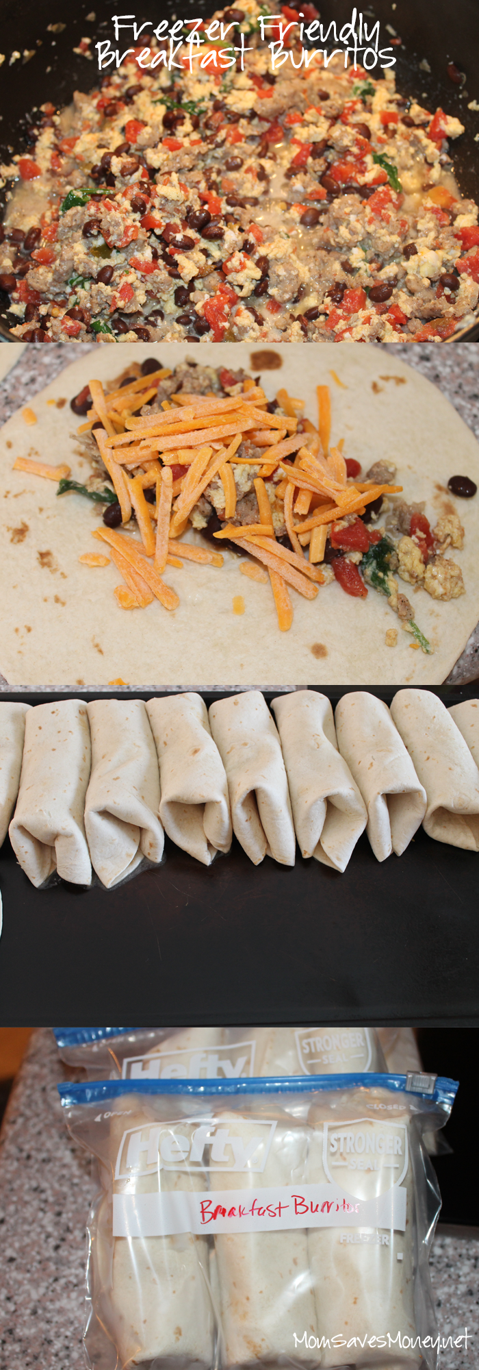 Freezer Ready Breakfast Burritos