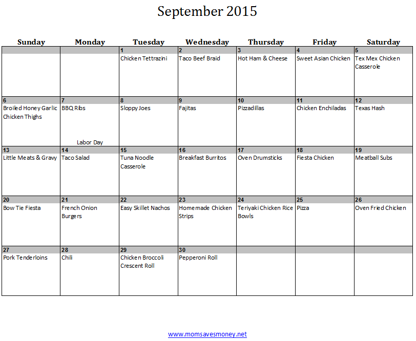 September Monthly Meal Plan With Calendar & 30 Easy Recipes! - Mom ...