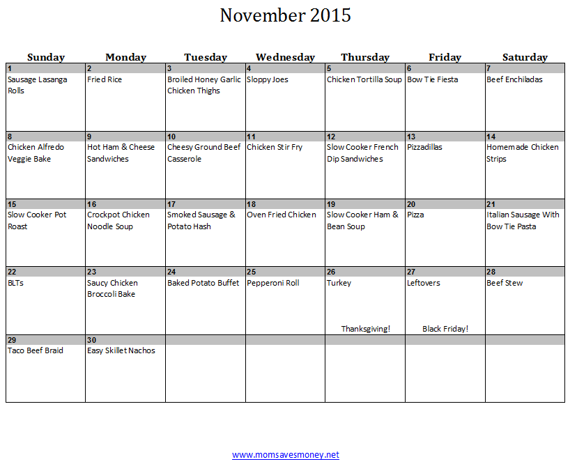 november monthly meal plan with calendar recipes mom saves money