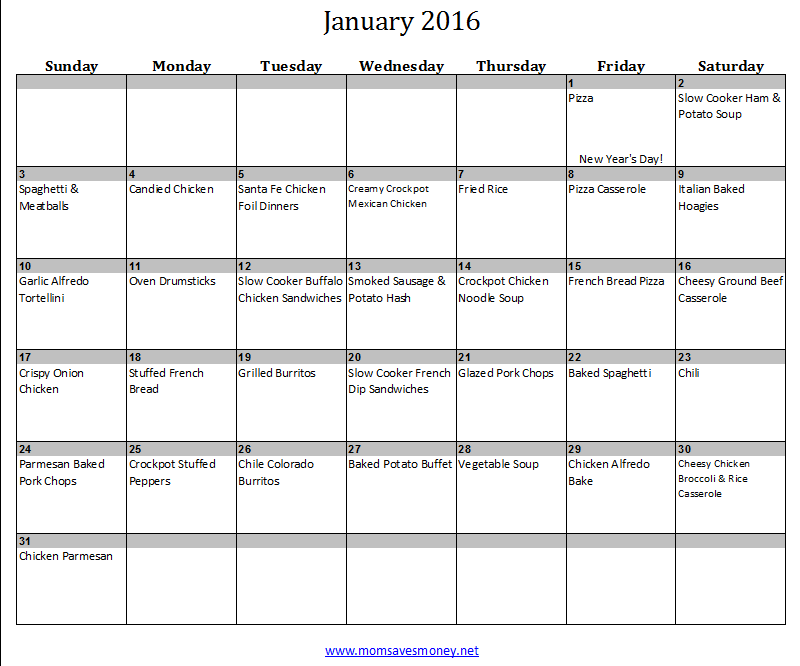 January Monthly Meal Plan with Calendar Recipes Mom Saves Money – Meal Calendar