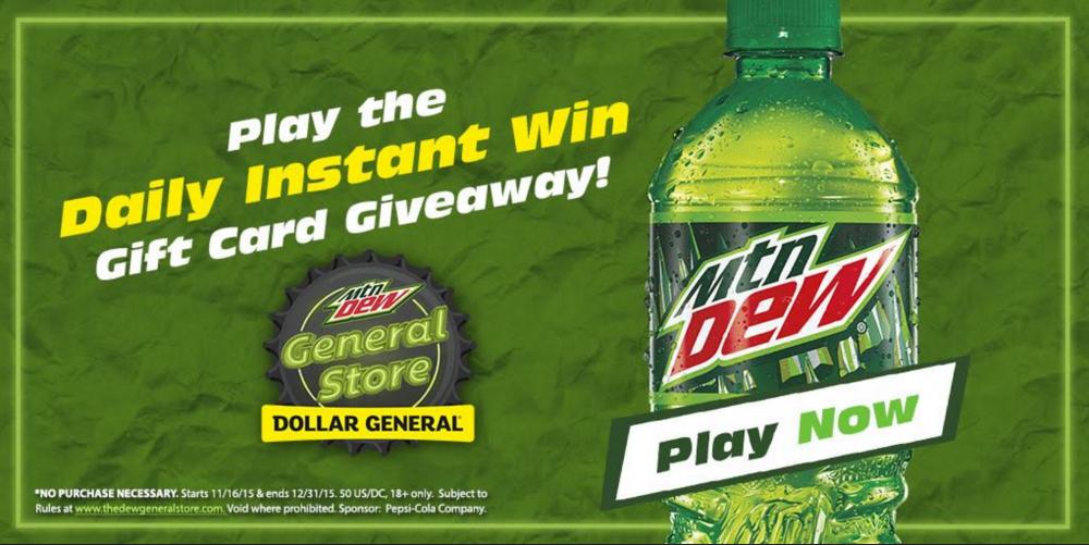 mountain dew dollar general daily instant win 1 000 winners
