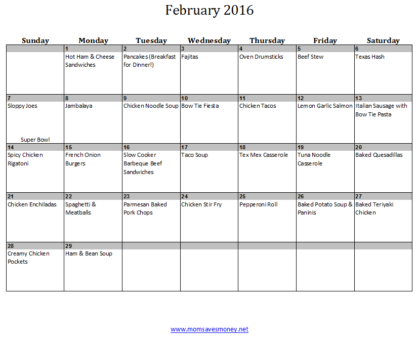 february monthly meal plan with calendar recipes mom saves money