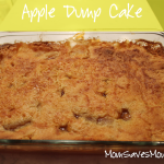 apple dump cake in glass pan
