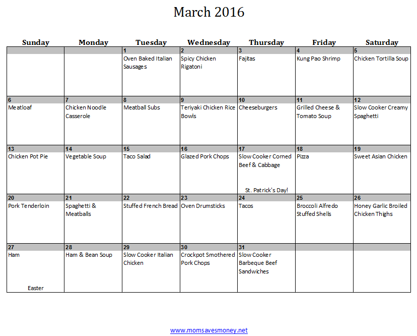March Monthly Meal Plan with Calendar Recipes Mom Saves Money – Meal Calendar