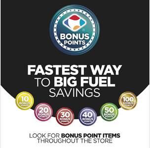 Bonus points signage