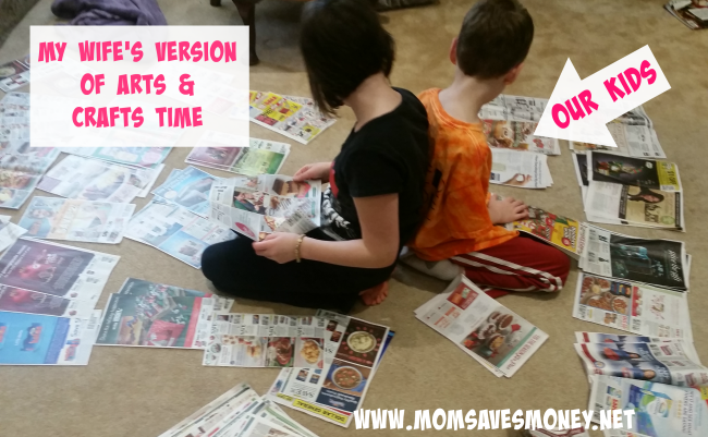 kids clipping coupons