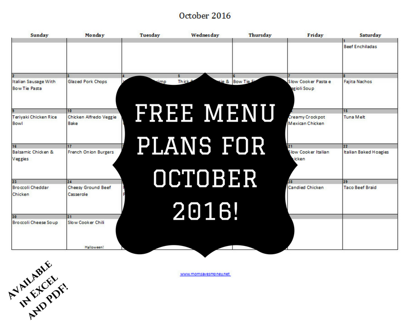 Menu plan for October 2016