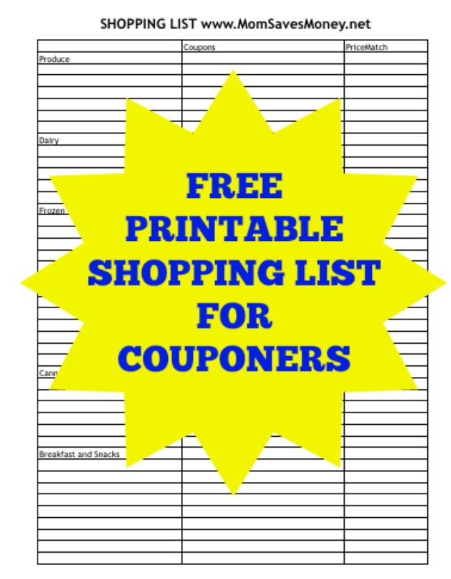 shopping list for couponers printable version