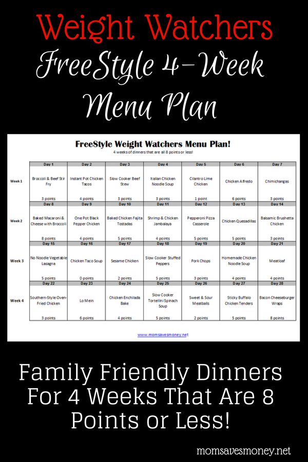 On Weight Watchers Try This 4 Week Menu Plan Mom Saves Money