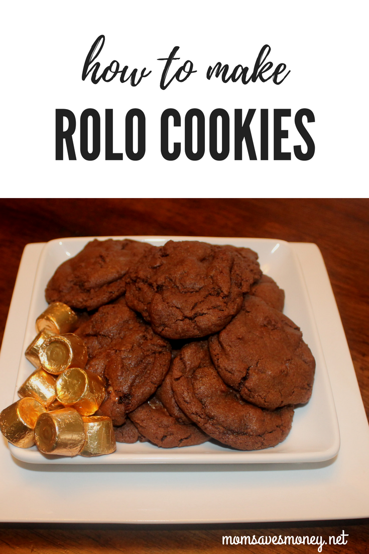 Wonderful homemade Rolo chocolate cookies. The Rolo candy melts in the oven creating a creamy chocolate cookie wrapped around the yummy caramel flavors of Rolo candy. Try this recipe for a holiday treat or delicious dessert antyime. #chocolatecookie #rolocookie #cookierecipe #cookie #homemade