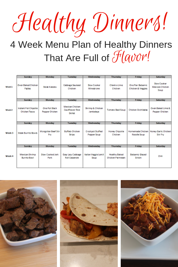 Eating healthier has never been easier with this 4 week menu plan! #healthy #healthyfood #menuplan #eatwell #homecooked #simpleandhealthy