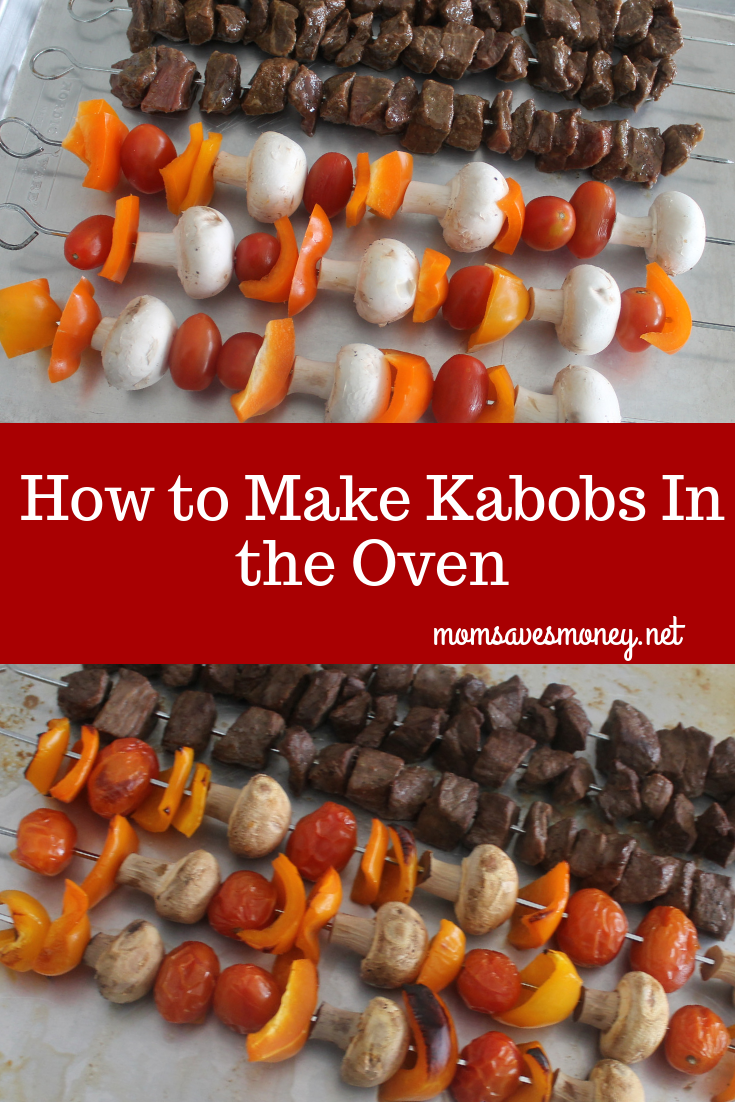 Kabobs made in the oven make it a perfect recipe for year round eating! No need to wait for perfect weather. #kabobs #steakkabobs #kabobs #oven #veggies #vegetables