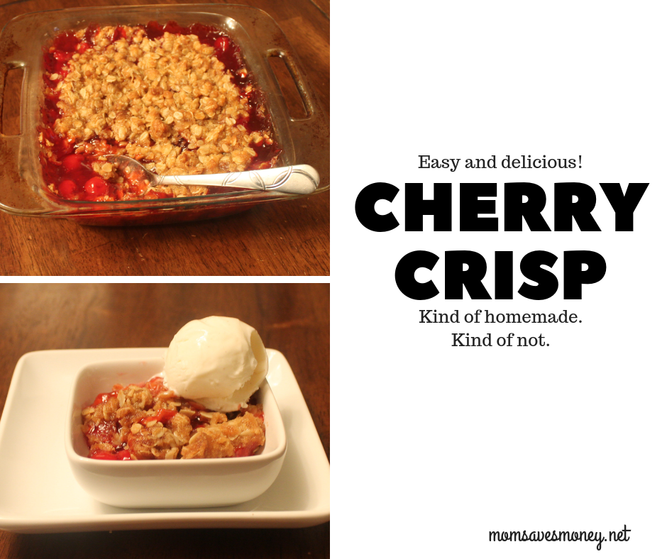 Delicious Kind Of Homemade Cherry Crisp! Warm cherries with a homemade oatmeal crisp topping. Serve with a scoop or two of vanilla ice cream. #cherry #cherrycrisp #dessert #homemade #semihomemade