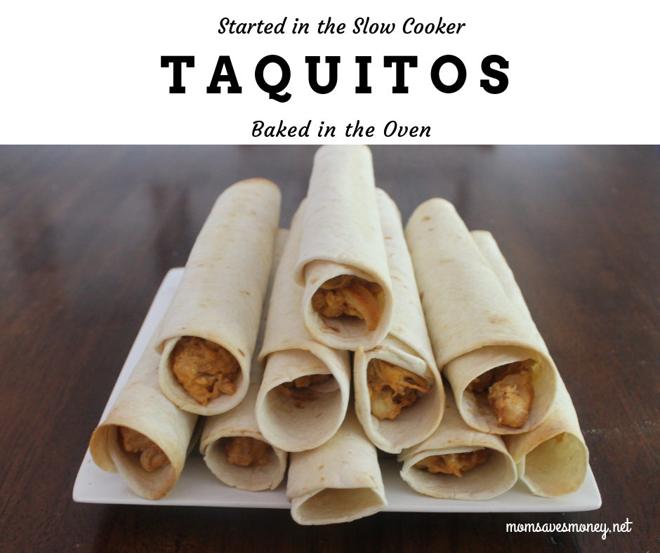 Chicken taquitos started in the slow cooker and then baked in the oven! Easy Mexican style dinner!