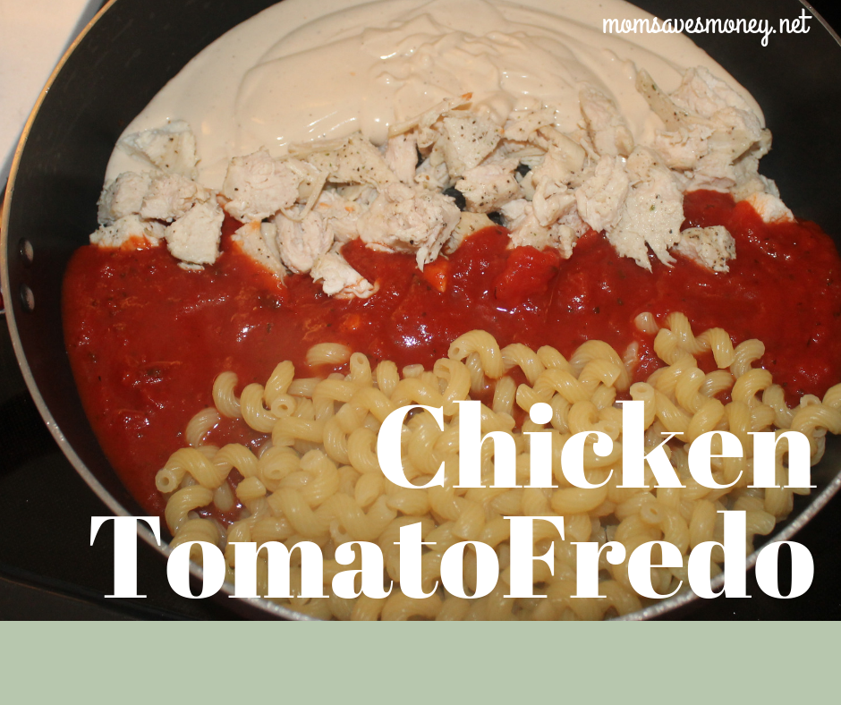 TomatoFredo! It's a funny word maybe, but it's a beautiful blend of alfredo and marinara sauces. Add in some chicken for a complete meal! #italian #pasta #chicken #alfredo #chickenalfredo #simple #easy