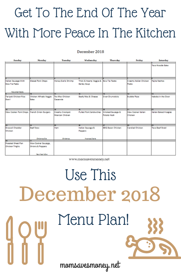 End the year with PEACE in your Kitchen! Having a plan for meals will free you up to think about other things. 31 days of easy, family-friendly recipes! #mealplan #menuplan #easyrecipes #familyfriendlyrecipes