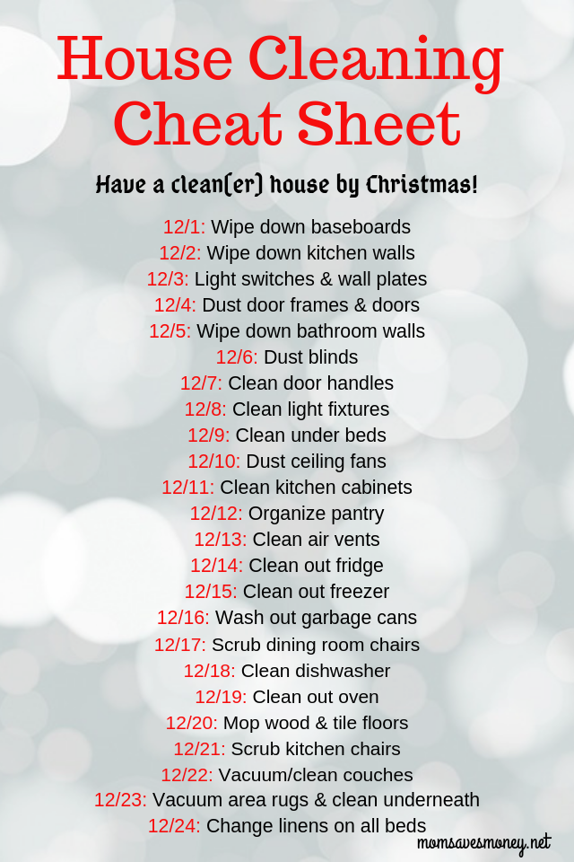 Want a clean(er) house by Christmas? Little by little, day by day, you can get there with this 24 day cleaning chart! #holidays #entertaining #cleaning #home