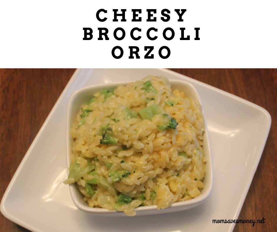What's not to love about this simple and satisfying side dish? The combination of cheese, broccoli and orzo is an easy side dish the whole family will love! #simple #sidedish #orzo #broccoli #cheesy #cheesybroccoli