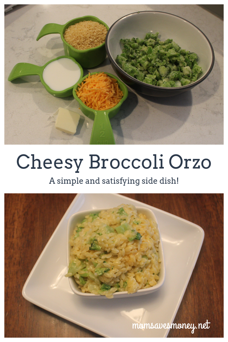 What's not to love about this simple and satisfying side dish? The combination of cheese, broccoli and orzo is one the whole family will love! #simple #sidedish #orzo #broccoli #cheesy #cheesybroccoli