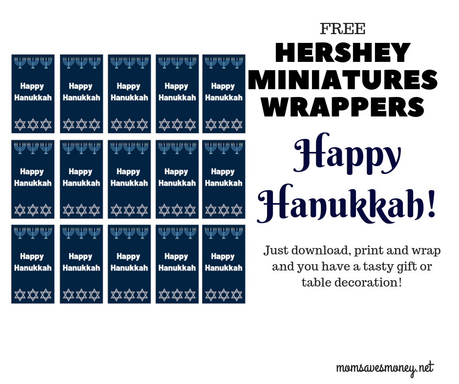 Hershey Miniatures with Christmas wrappers make for a fun (and tasty!) gift or a fun table decoration! Free print to have a fun way to add a custom touch to your holiday. #hershey #hersheyminiatures #happyhanukkah #hanukkah #teachergift #homemade #semihomade #chocolate #freeprintable #simple #easy