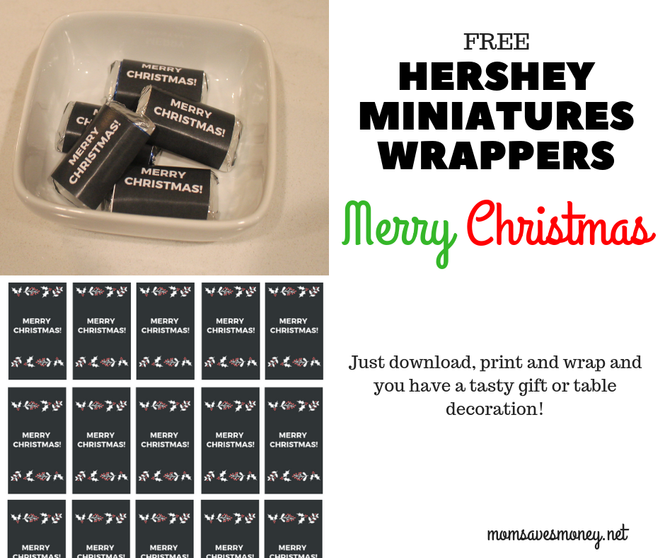 Hershey Miniatures with Christmas wrappers make for a fun (and tasty!) gift or a fun table decoration! Free print to have a fun way to add a custom touch to your holiday. #hershey #hersheyminiatures #merrychristmas #teachergift #homemade #semihomade #chocolate #freeprintable #simple #easy