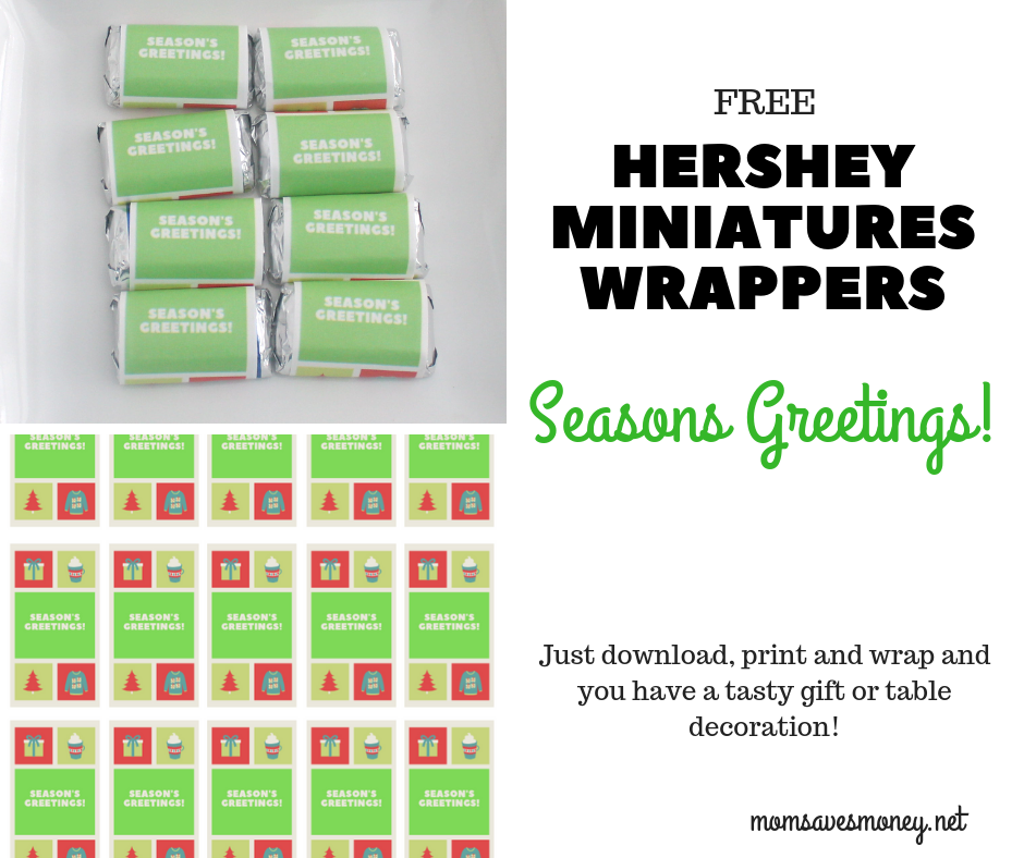 Hershey Miniatures with Seasons Greetings printable candy wrappers make for a fun (and tasty!) gift or a fun table decoration this Christmas season! Free printable template to add a custom touch to your holiday and make a great teacher gift or school party treat.