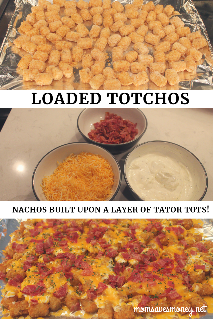 Totchos! Irish Nachos! Tator tots baked in an oven, covered with cheese, ranchy sour cream and bacon makes for a family friendly and simple meal! #totchos #tatortots #loaded #simple #easy