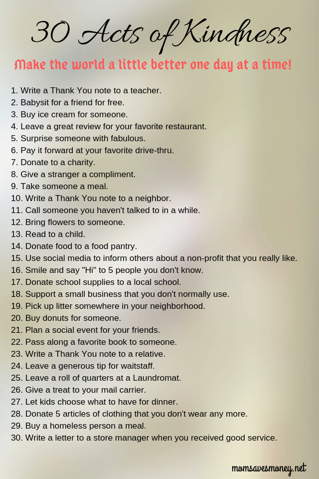 image with 30 acts of kindness ideas