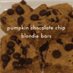 pumpkin chocolate chip blondie bars on a glass tray