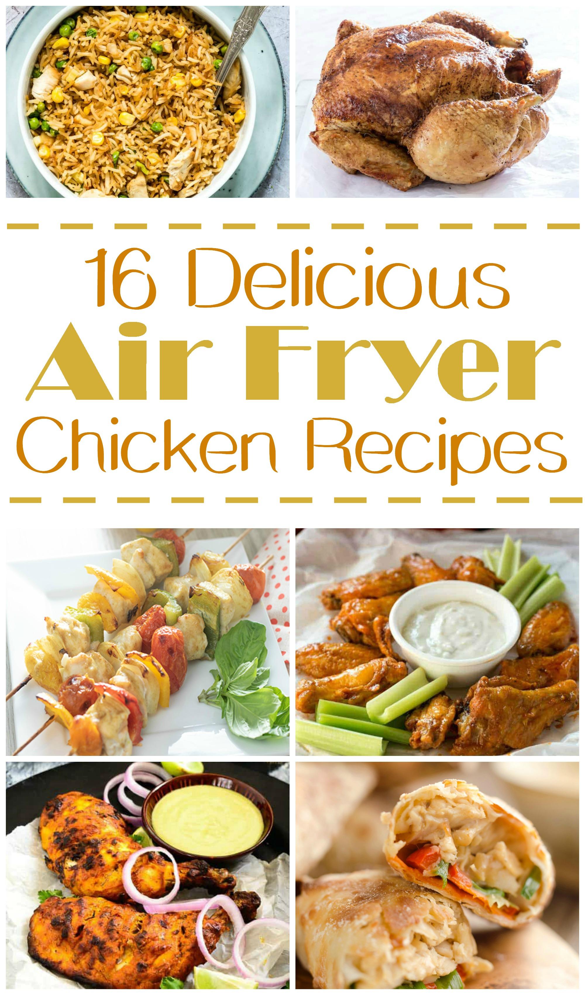 collage picture with chicken kabobs, chicken thighs, chicken wrap, chicken wings and whole chicken