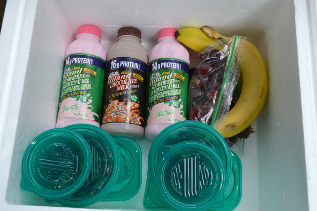 cooler packed with snacks