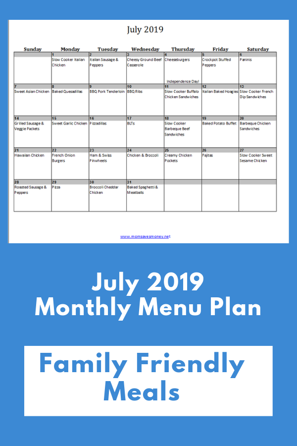 july 2019 calendar with meals