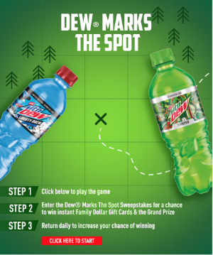 2 bottles of mtn dew and promotion details