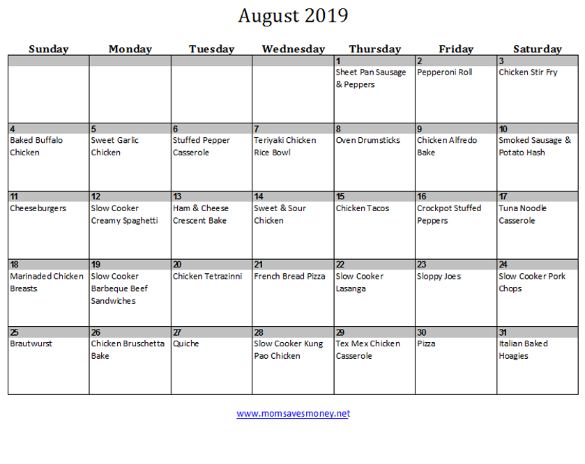 august 2019 calendar with meals