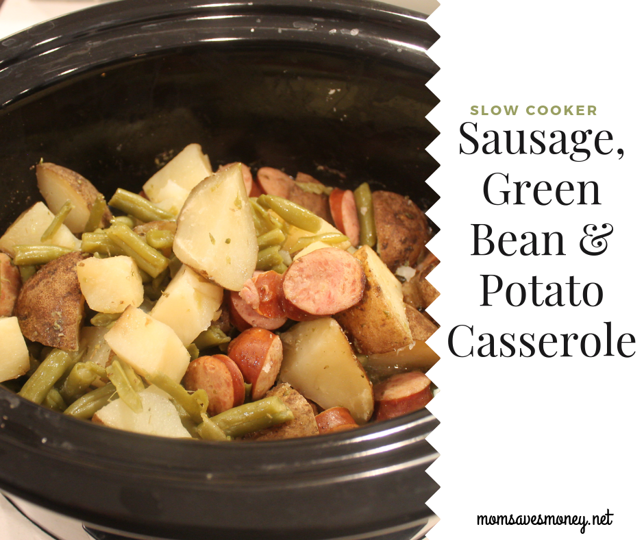 sausage, green beans and potateos in the slow cooker