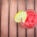 watermelon slush in glass cup on table