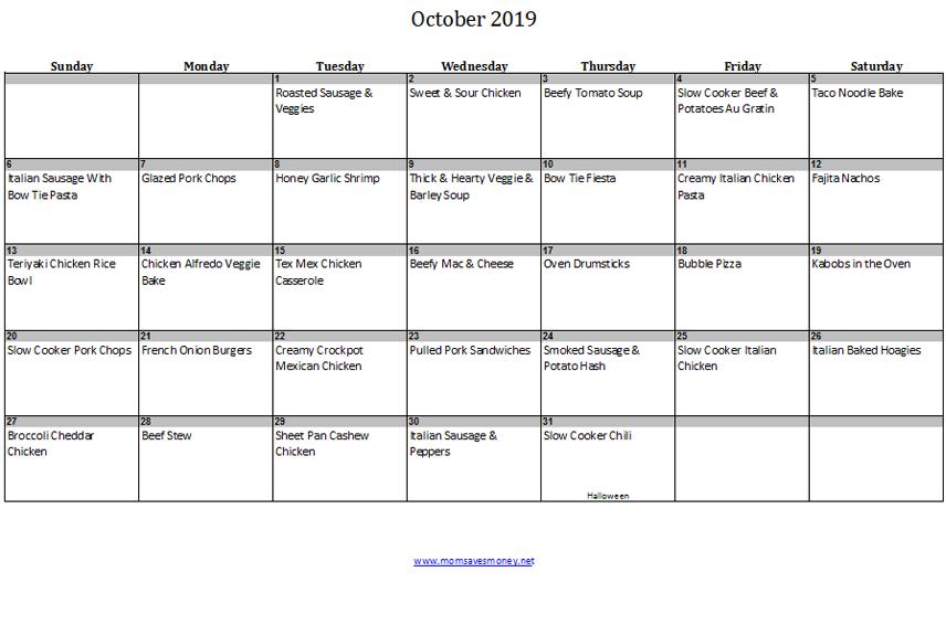 october 2019 calendar with meals