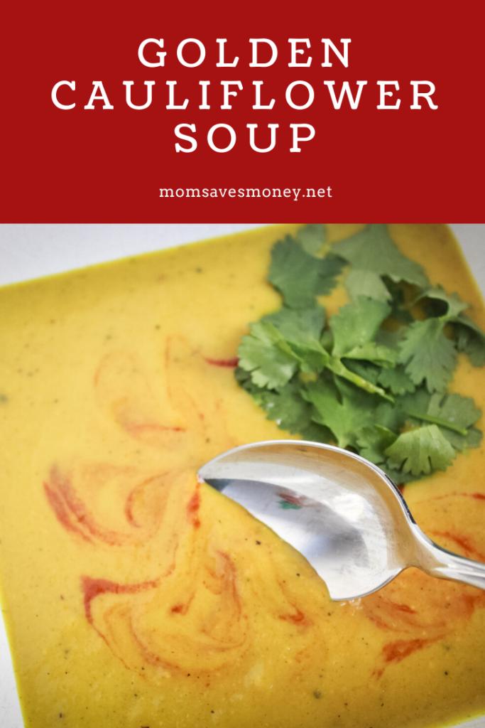 golden cauliflower soup pinterest image