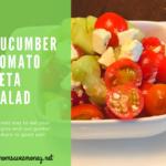 cucumber tomato feta salad in a bowl