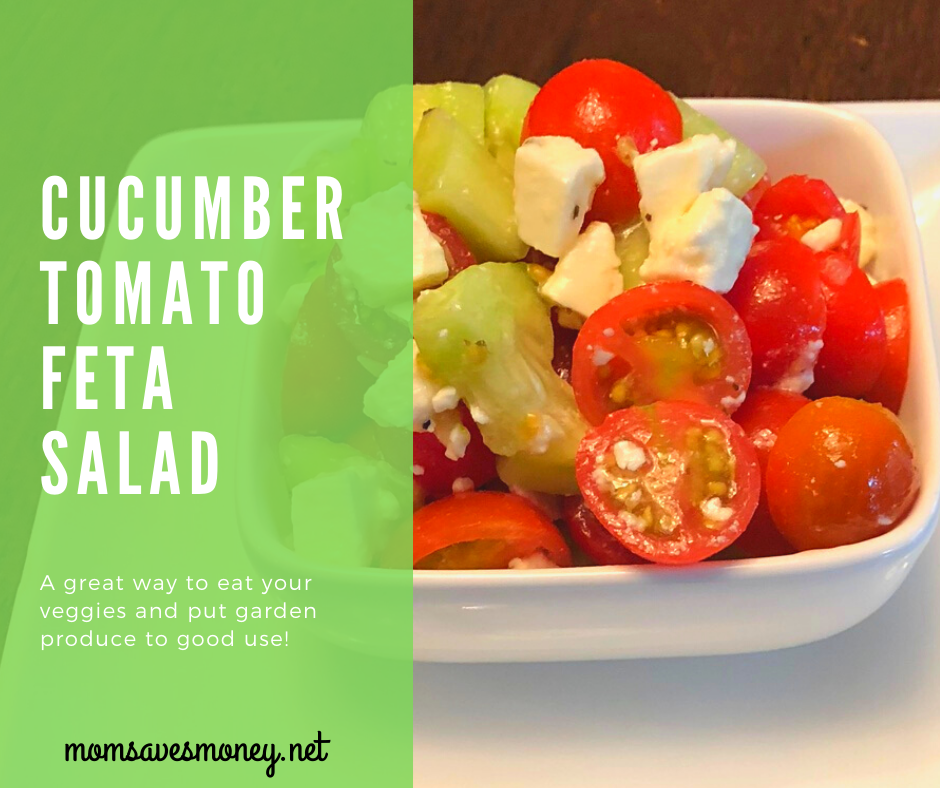 cucumber tomato feta salad in a bowl