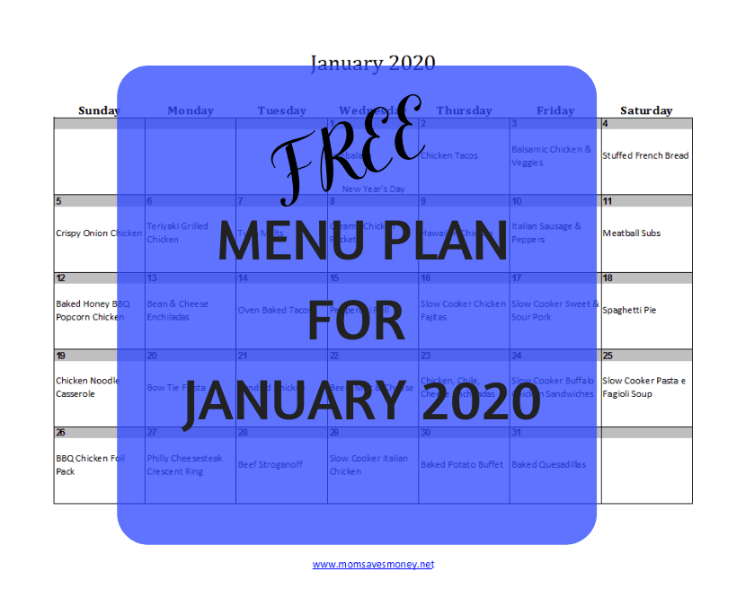 january 2020 meal plan calendar