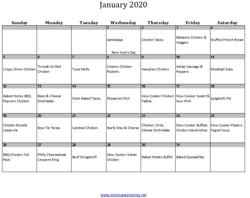 january 2019 calendar with meals